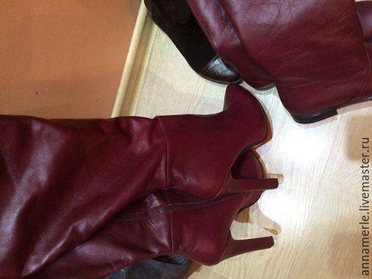 Обувь ручной работы. Ярмарка Мастеров - ручная работа. Купить Сапоги 12 см каблук,2 см платформа бордо кожа. Handmade.