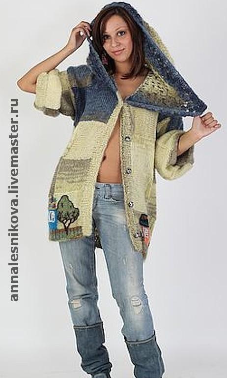 """Верхняя одежда ручной работы. Ярмарка Мастеров - ручная работа. Купить Жакет летний """"Домики"""" с капюшоном. Handmade. Вязание спицами"""