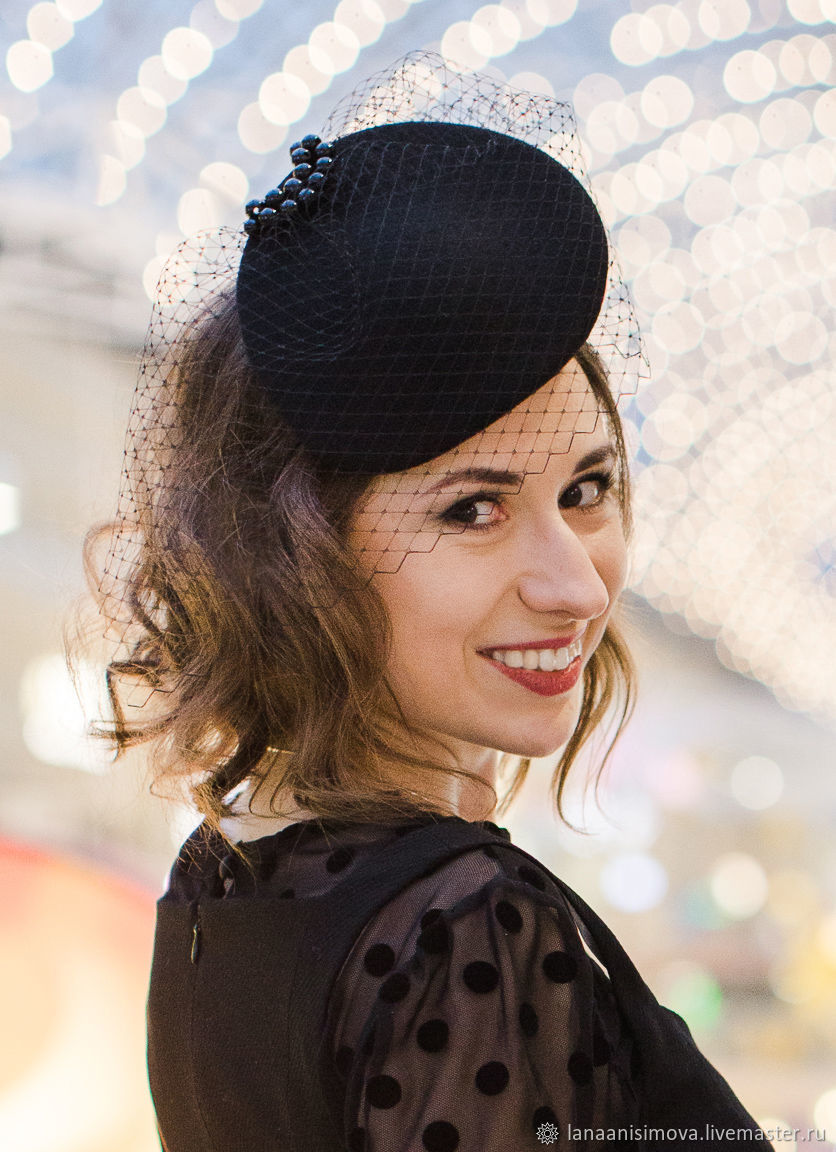 Evening hat 'Nataly' with a veil. Color black, Hats1, Moscow,  Фото №1