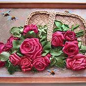 Вышивка лентами цветы в корзине фото 55