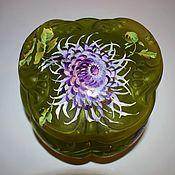 Винтаж handmade. Livemaster - original item antique jewelry box painted colored glass 19th century bohemia. Handmade.