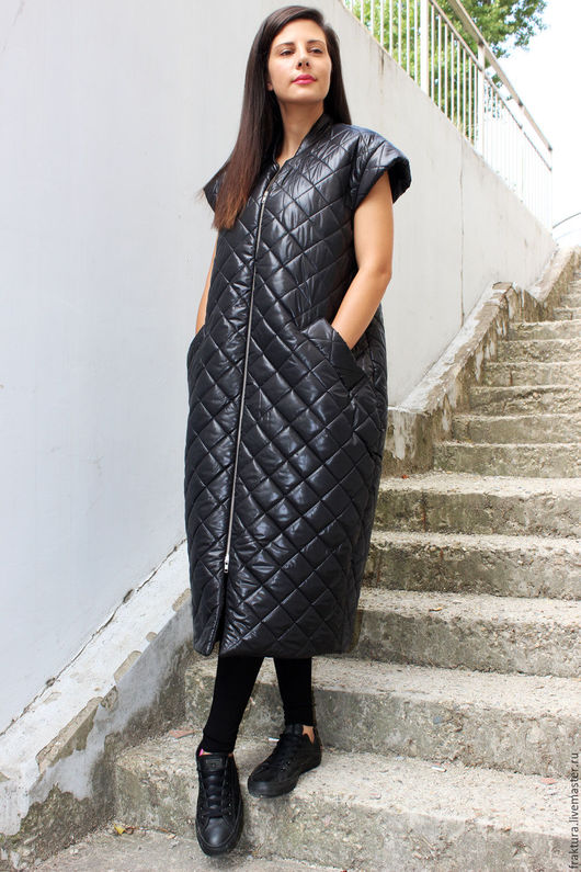 """Верхняя одежда ручной работы. Ярмарка Мастеров - ручная работа. Купить Пальто """"Asymmetric Sleeveless Coat"""" V0016. Handmade."""