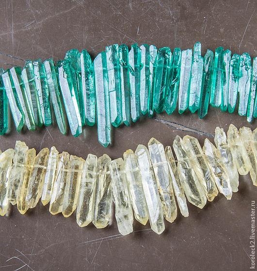 Для украшений ручной работы. Ярмарка Мастеров - ручная работа. Купить Бусины палочки из кристаллов необработанного тонированного кварца. Handmade.