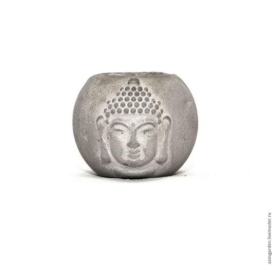 Бетонное кашпо Будда с белой патиной