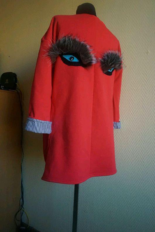 Кофты и свитера ручной работы. Ярмарка Мастеров - ручная работа. Купить Кардиган из трикотажа с аппликацией глазки. Handmade. Кардиган женский