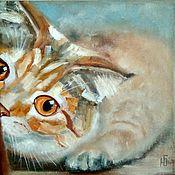 Картины и панно handmade. Livemaster - original item Oil painting Funny cat on canvas. Handmade.