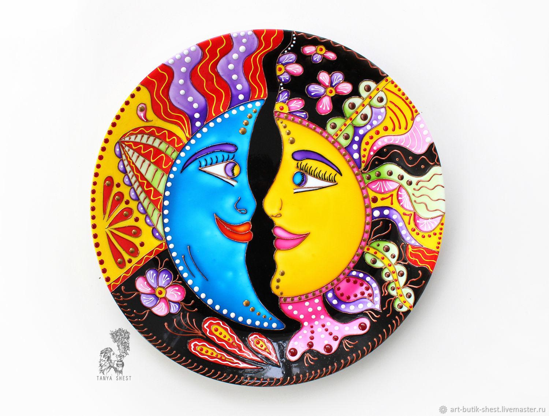 'Sun and Moon' Decorative plate hand painted, Plates, Krasnodar,  Фото №1