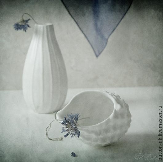Фотокартины ручной работы. Ярмарка Мастеров - ручная работа. Купить Натюрморт Бело-васильковый (гербарий). Handmade. Синий, белый, платок