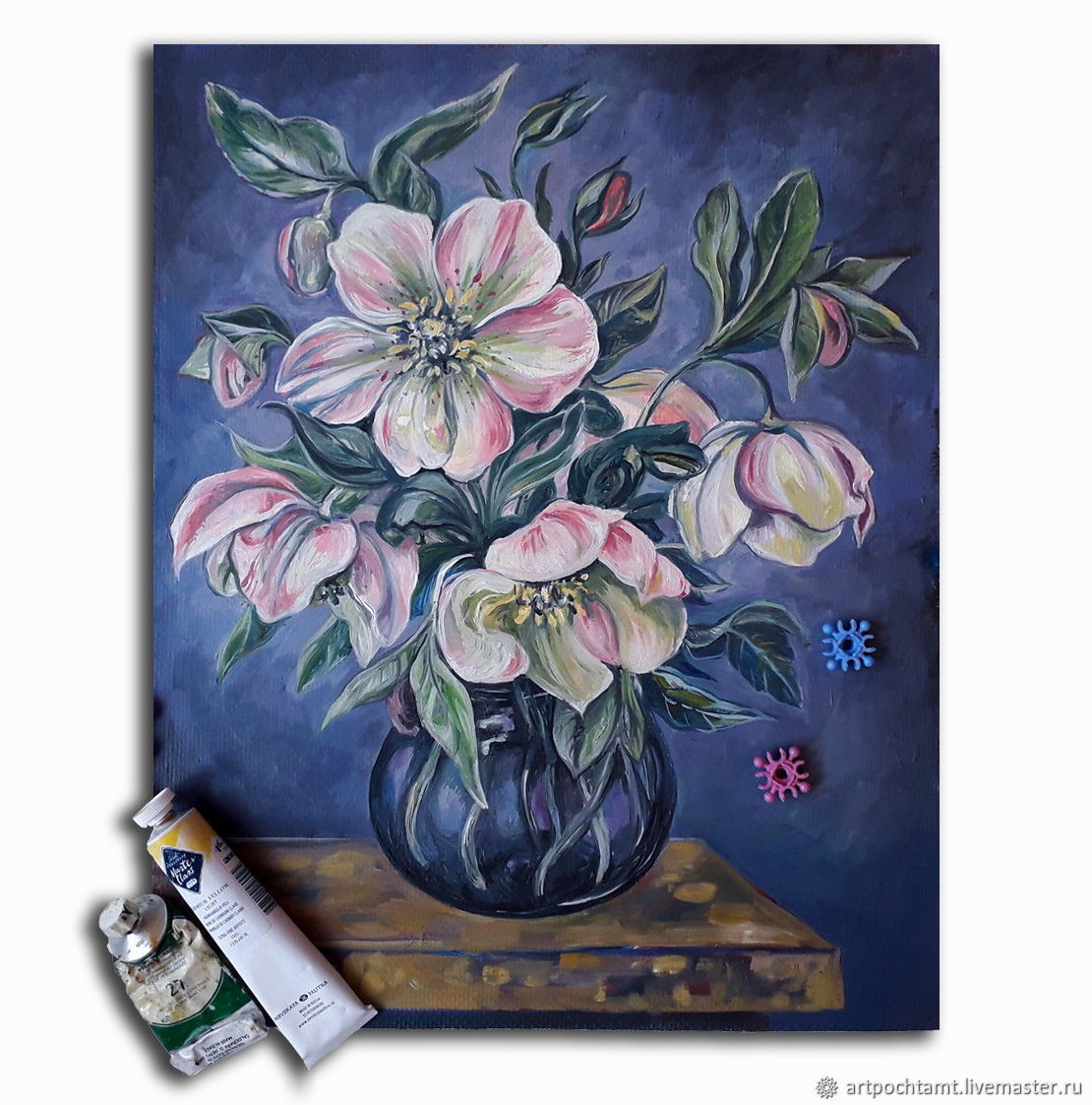 A bouquet of flowers in a blue vase, hellebore, canvas on hardboard, oil, 43h34sm, Pictures, Murmansk,  Фото №1