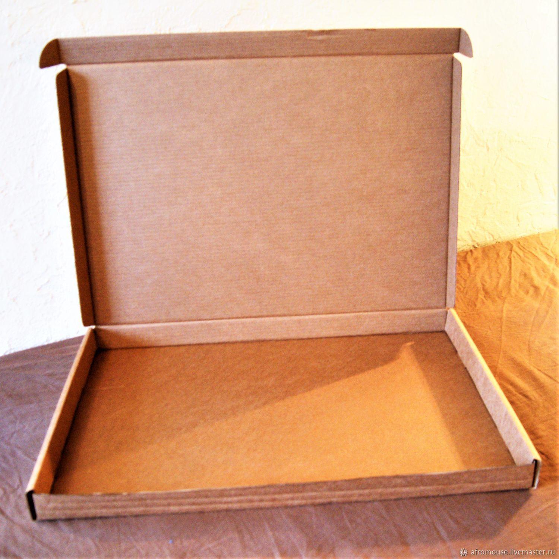 коробка `Простая-30` 61х42х 4 см, крафт, плоская для картины