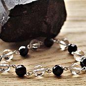 Украшения handmade. Livemaster - original item Women`s bracelet made of sherl (black tourmaline) and rock crystal. Handmade.