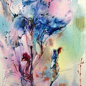 Картины и панно ручной работы. Ярмарка Мастеров - ручная работа Акварель голубой ирис. Handmade.