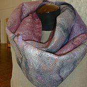 Аксессуары ручной работы. Ярмарка Мастеров - ручная работа Валяный шарф-снуд Утро туманное (серо-розовый). Handmade.