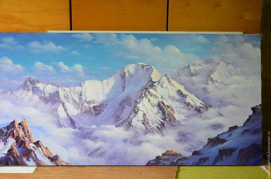 Горный пейзаж ` Кавказский хребет` 60х120 . Холст масло