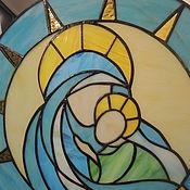 """Для дома и интерьера ручной работы. Ярмарка Мастеров - ручная работа Витражное панно """" Дева Мария"""" икона. Handmade."""