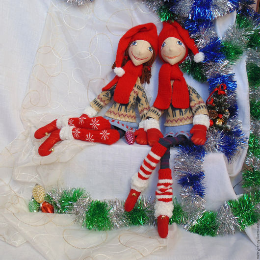 Куклы Тильды ручной работы. Ярмарка Мастеров - ручная работа. Купить Новогодние гномы. Handmade. Новогодний гном, новогодний эльф