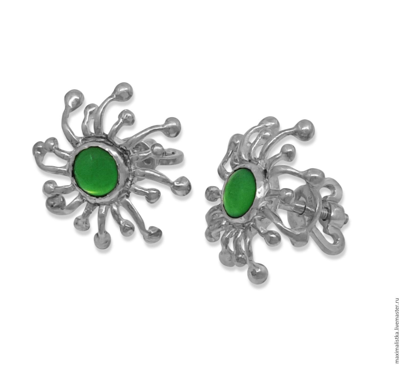 Earrings Handmade Livemaster Silver Ear Studs Set Green Blobs