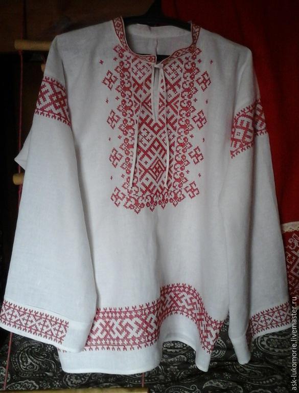 Вышивка на рубахе крестом