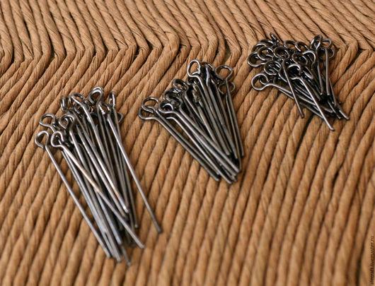 Для украшений ручной работы. Ярмарка Мастеров - ручная работа. Купить Пины с петлей 17-30мм набор 60шт черный металл. Handmade.