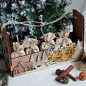 """Подарки к праздникам ручной работы. Ярмарка Мастеров - ручная работа Короб для хранения """"Зимний лес"""". Handmade."""