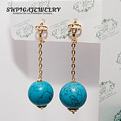 Украшения handmade. Livemaster - original item Gold plated long earrings with turquoise
