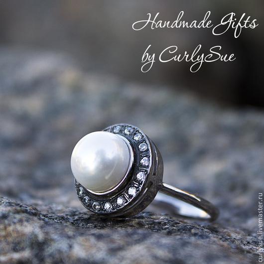 Кольца ручной работы. Ярмарка Мастеров - ручная работа. Купить Серебряное или позолоченное кольцо с жемчугом и цирконами. Handmade. Серебряный