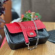 Сумки и аксессуары handmade. Livemaster - original item Python skin bag Black & Red. Handmade.