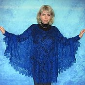 Одежда handmade. Livemaster - original item Blue poncho,Hand knitted poncho,Crochet poncho,Warm poncho. Handmade.