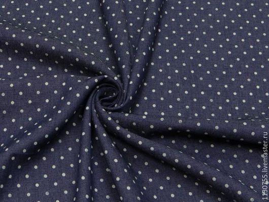 Шитье ручной работы. Ярмарка Мастеров - ручная работа. Купить ткань джинс плательный горох  синий. Handmade. Синий, ткань