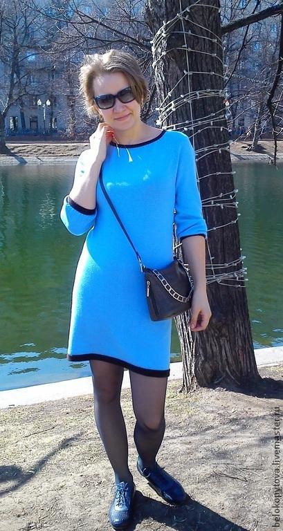 """Платья ручной работы. Ярмарка Мастеров - ручная работа. Купить Голубое вязаное платье """"В ожидании весны"""". Handmade. Голубой"""