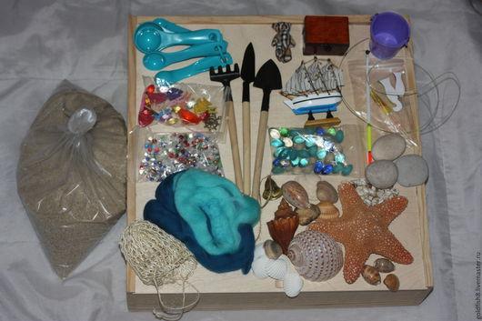 """Развивающие игрушки ручной работы. Ярмарка Мастеров - ручная работа. Купить Сенсорная коробка """"Морская"""". Handmade. Сенсорная игрушка, ракушки"""