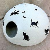 """Для домашних животных, ручной работы. Ярмарка Мастеров - ручная работа Домик для котика """"Веселые кошки"""".. Handmade."""