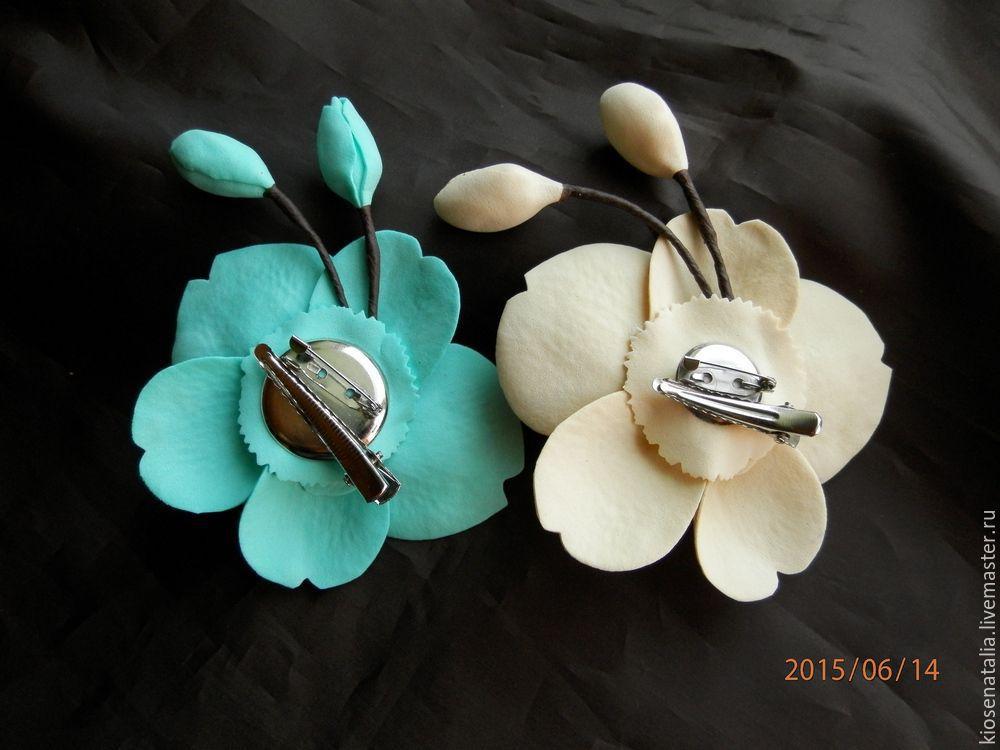 Купить Заколка/брошь ОРХИДЕЯ - бирюзовый, орхидея, нежное украшение, бирюзовое украшение, заколка для волос