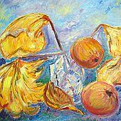 Картины и панно ручной работы. Ярмарка Мастеров - ручная работа Яблоки и листья, разбитый стакан. Handmade.