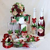 Свадебный салон ручной работы. Ярмарка Мастеров - ручная работа Набор свадебных аксессуаров в винном цвете. Handmade.
