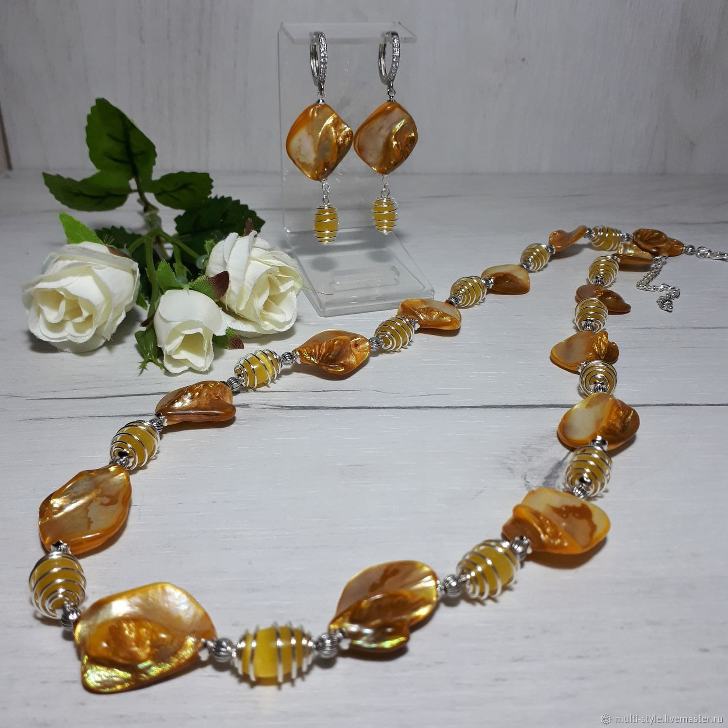 Necklace and earrings with yellow mother-of-pearl 'Reflection of the sun', Jewelry Sets, St. Petersburg,  Фото №1