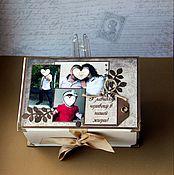 Подарки к праздникам ручной работы. Ярмарка Мастеров - ручная работа Коробочка с шоколадом и пожеланиями. Handmade.