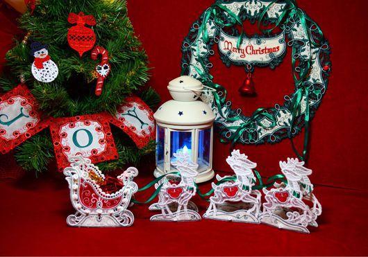 Новый год 2017 ручной работы. Ярмарка Мастеров - ручная работа. Купить Сани Деда Мороза с упряжкой оленей. Handmade. Камин