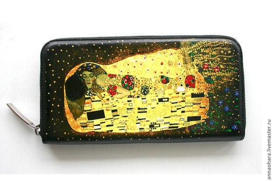 Кошельки и визитницы ручной работы. Ярмарка Мастеров - ручная работа. Купить Портмоне Климт. Handmade. Золотой, портмоне, полимер