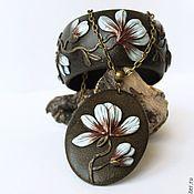 Украшения handmade. Livemaster - original item Set of polymer clay necklace and wide bracelet Magnolia. Handmade.