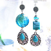 handmade. Livemaster - original item Turquoise earrings. Handmade.