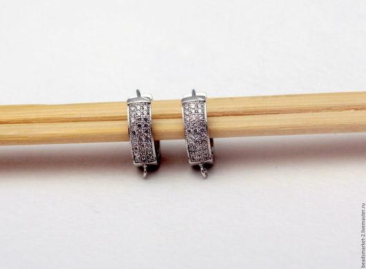 Для украшений ручной работы. Ярмарка Мастеров - ручная работа. Купить Швензы для серег родированные с цирконами. Handmade. Швензы, для сережек