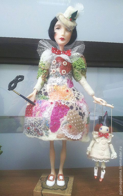 Коллекционные куклы ручной работы. Ярмарка Мастеров - ручная работа. Купить Грустная Коломбина. Handmade. Разноцветный, коломбина, театр, цирк