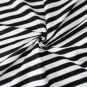 Ткани ручной работы. Ярмарка Мастеров - ручная работа Ткань Полоска черно-белая широкая, сатин, 100% хлопок. Handmade.