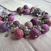 Украшения handmade. Livemaster - original item Bracelet on a Chain with Textile Beads Pink Lilac Grey. Handmade.