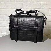 Сумки и аксессуары handmade. Livemaster - original item Men`s bag, crocodile leather, in black color under the order!. Handmade.