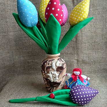 Flowers and floristry handmade. Livemaster - original item Tulips made of fabric in the style of Tilda as a gift for the holidays. Handmade.