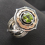 Украшения handmade. Livemaster - original item Silver ring with chrysolite. Handmade.
