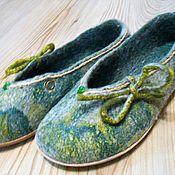 Обувь ручной работы handmade. Livemaster - original item Ballet shoes felted MALACHITE.. Handmade.