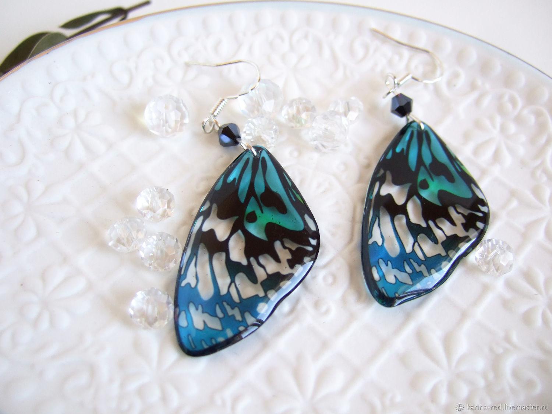 Transparent butterfly Wings Earrings Blue and Black rainbow boho Sea, Earrings, Taganrog,  Фото №1